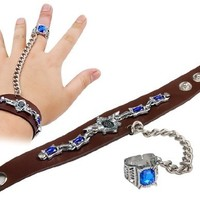 Punk Black Butler Adjustable Bracelet with Ring & Chain (Brown) M.