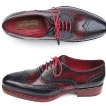 Paul Parkman Mens Triple Leather Sole Wingtip Brogues Navy & Red (Id#027)
