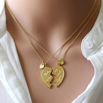 Heart Necklace,His and Her Necklaces,lover necklace with initial, Heart Pendant Jewelry, Boyfriend Girlfriend Gift for lover