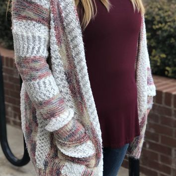 Cozy Days Ahead White With Tri-Color Stripes Cardigan