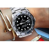Rolex Watch Fashion Black Silver Women Men Contrast Classic Watch