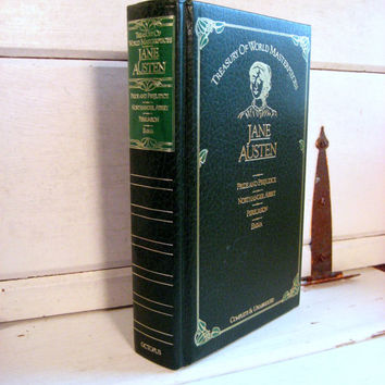 Jane Austen, set of 4 novels, Pride and Prejudice, Emma, Persuasion, North. Abbey Emerald Green and Gold Hardcover vintage book