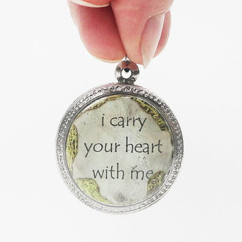 i carry your heart with me, Terrarium Locket Necklace, Faux Stone Heart, Mini Curio Display, Natural World