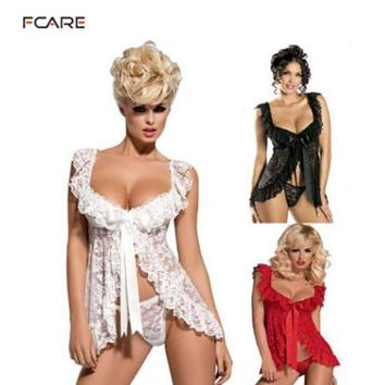 VONL8T Fcare 2015 Europe and America transparent lace nightwear  M to 4XL dress+g string  plus size Sexy Lingerie