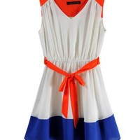 Chiffon Collision Color Sleeveless V-neck Belt Chiffon Dress ( color) style 823dr0022 in  Indressme