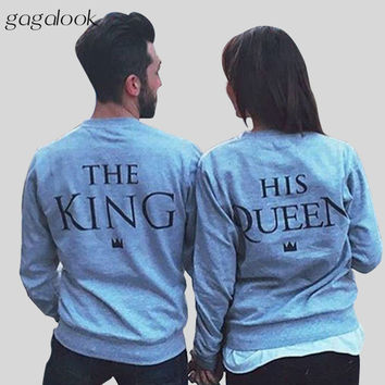 2016 Autumn Brand New Hoodies Sweatshirt Women Man Femal Male Couple King Queen Printed Streetwear Sudaderas Mujer Felpe