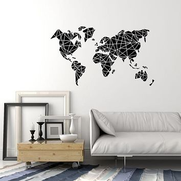 Vinyl Wall Decal Abstract World Map Polygonal Living Room Stickers (3670ig)