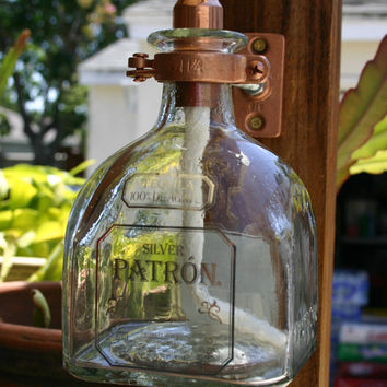 Patron Tequila Tiki Torch / Oil Lamp including bottle and Hardware.