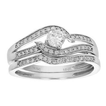 0.21 Carats 1/2 CT Diamond Wedding Engagement Ring Set 14K White Gold