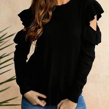 Black Plain Ruffle Irregular Round Neck Fashion Pullover Sweater