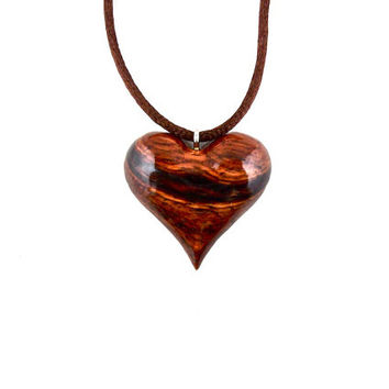 Heart Pendant, Heart Necklace, Wooden Heart Necklace, Wood Heart Pendant, 5th Anniversary Gift for Her, Valentines Day Heart Jewelry