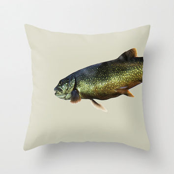 Fish - Trout on Beige - Tan - Brown - Aqua Blue Green - Throw Pillow Cover