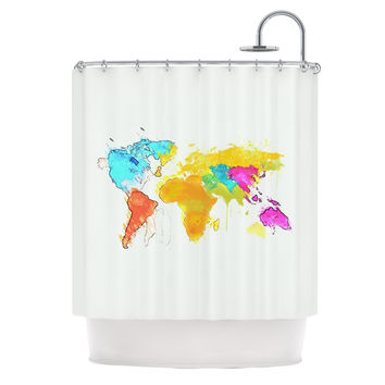"Oriana Cordero ""World Map"" Rainbow White Shower Curtain"