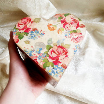 Trinket heart box decoupage roses vintage flowers keepsake box small box gift for her love