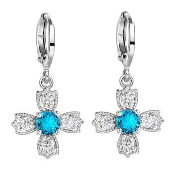 Beautiful Magic Viking Style Cross Powers Sky Blue Sparkling Crystals Silver-Tone Fashion Earrings