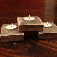 Whiskey barrel triple tea light holder