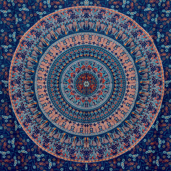 Blue Indian Elephant Tapestry Mandala Tapestry Hippie Hippy Wall Hanging,Handmade sheet,Decorated throw,Curtain,Bed cover,Bed Spread