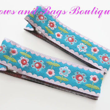 girls hair clips, hair accessories, set of hair clips - pink, blue and white flower farbenmix ribbon
