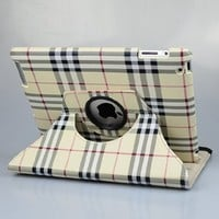 Rotating Stand Stylish Plaid (ivory/gray) PU Leather Case for Apple iPad
