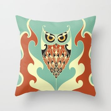 Owl Fire Throw Pillow by Aodaria