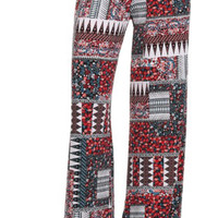 Country Tribal Floral Patch Work Print Palazzo Pants