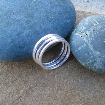 Silver Stack Rings -  Fine Silver Bands - Size 8 - Set of Three
