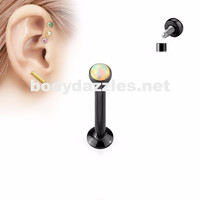 Black and White Opal  Flat Top Internally Threaded Surgical Steel Labret Stud for Lip, Chin, Ear Cartilage Piercings