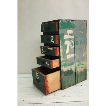 Small Vintage 5 Drawer Green Wooden Cabinet for  Office, Jewelry, Kitchen
