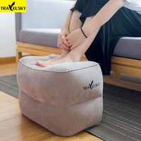 Kids Sleeping Pillow On Airplane/Bus/Car Leg Resting Inflatable Travel Foot Rest Pillow PVC Flocking Travel Footrest Pillow