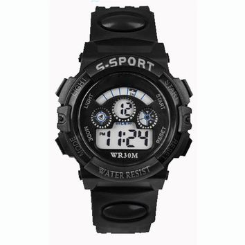 Waterproof Children Boy Digital LED Quartz Sports Wrist Watch