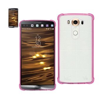 Reiko REIKO LG V10 MIRROR EFFECT CASE WITH AIR CUSHION PROTECTION IN CLEAR HOT PINK