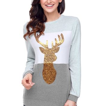 Chicloth Charcoal White Grey Colorblock Gold Reindeer Top