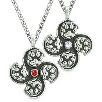 Supernatural Wolf Paw Amulet Powers Love Couples or Best Friends White Red Crystals Pendant Necklaces