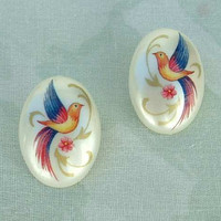 Colorful Birds of Paradise Celluloid Cabochons Post Style Vintage Figural Jewelry