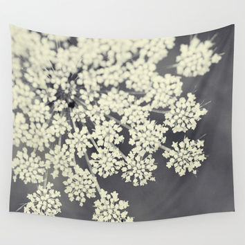 Black and White Queen Annes Lace Wall Tapestry by Erin Johnson
