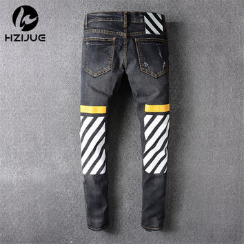 HZIJUE 2017 Tide brand off white winter new men 's wear striped Rose embroidery Denim pants men jeans jogger pants high quality