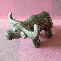 Mini buffalo figure statue mini ceramic animal rustic country home decor -Doll house Miniature animal figurines -collectible