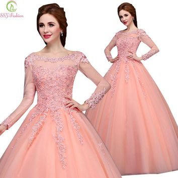 Winter Marriage Banquet Colorful Long Sleeve Evening Dress Lace Embroidery Luxury Party Prom Dress