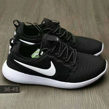 NIKE Roshe Run Women Casual Sport Shoes Sneakers Black-White hook G-HAOXIE-ADXJ