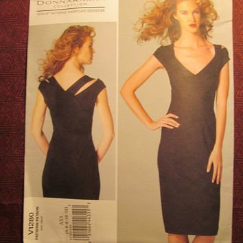 SALE Uncut Vogue Donna Karan Sewing Pattern, 1280! 4-6-8-10-12 Small/Medium/Women's/Misses/Evening Dress/Pull-over Dress/Shoulder Straps/Fit