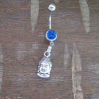 Belly Button Ring - Body Jewelry - Buddha Head with Dark Blue Gem Stone Belly Button Ring