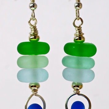Sale glass and silver stacked etched glass lampwork beads and silver drop earrings etched glass and silver earrings