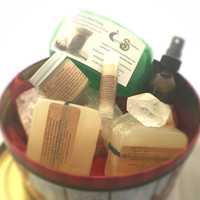 Black Friday Deal, Relaxation Gift Basket / Organic Body Products Holiday Tin, Organic Soap, Spray, Lip Balm, Face Cream, TeaLight, Crystal