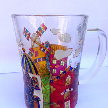Large Old town Mug. Hand painted glass mug.