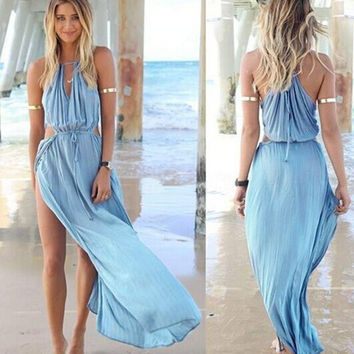 Sexy Women Summer Boho Long Maxi Dress Halter Cut-Out Blouson Slit Maxi Dress = 4756847300