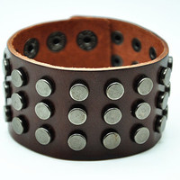 Brown Real Leather Wristband Cuff Bracelet ,Men Cuff  bracelet , Women Cuff Bracelet, Punk Rivet Bracelet  RZ0312