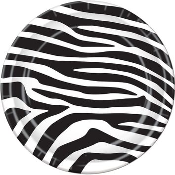 zebra print plates #72085 Case of 24