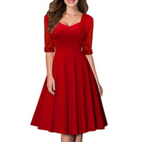 2016 New Autumn Winter Red Women Vintage Casual Swing Dress Black Half Sleeve Formal Evening Elegant Tunic Midi Dresses Vestidos