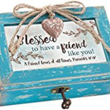 Blessed to Have Friend Teal Wood Locket Jewelry Music Box Plays Tune We Have a Friend in Jesus