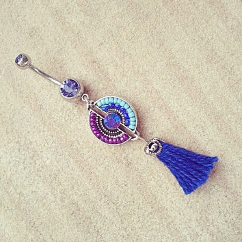 Belly Button Jewelry- Purple Tassel Ring Beaded Medallion Thread Fringe Long Charm Dangle Navel Piercing